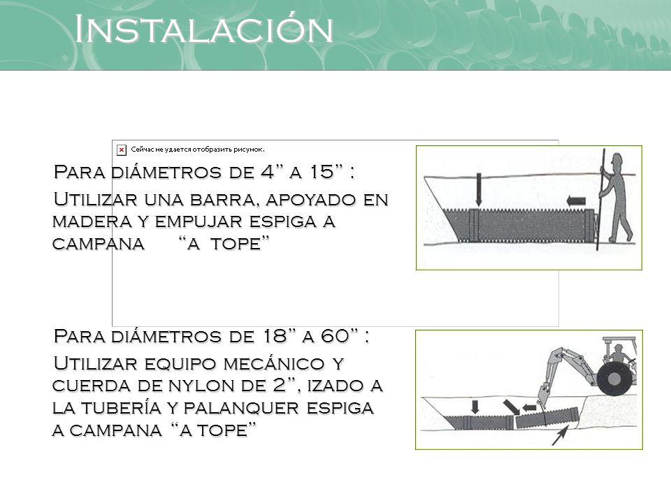Instalación Para diámetros de 4 a 15 :