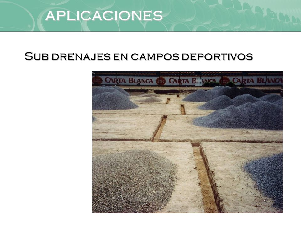 aplicaciones Sub drenajes en campos deportivos