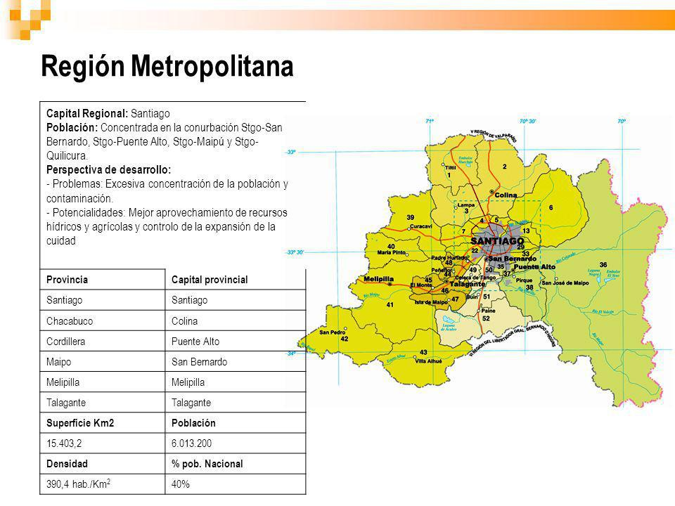 Región Metropolitana Capital Regional: Santiago
