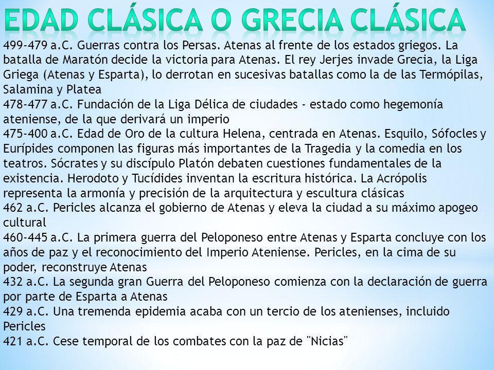 Edad Clásica o Grecia Clásica