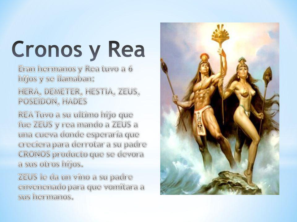 Cronos y Rea Eran hermanos y Rea tuvo a 6 hijos y se llamaban: