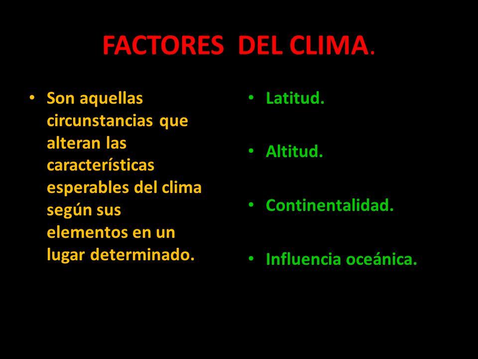 FACTORES DEL CLIMA.Son aquellas circunstancias que alteran las características esperables del clima según sus elementos en un lugar determinado.