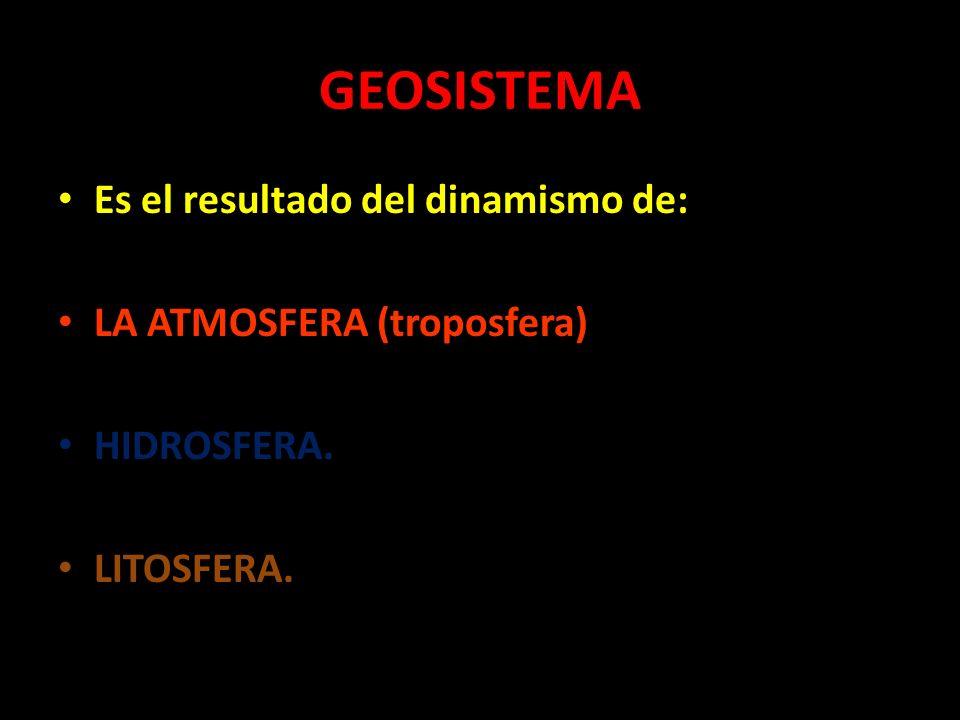 GEOSISTEMA Es el resultado del dinamismo de: LA ATMOSFERA (troposfera)