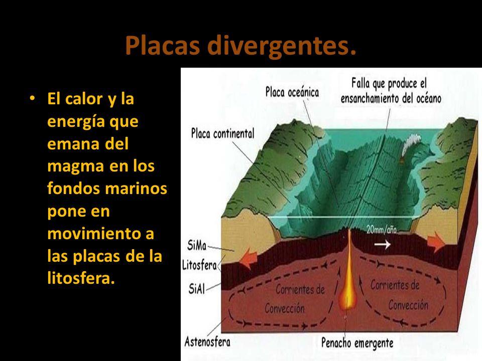 Placas divergentes.El calor y la energía que emana del magma en los fondos marinos pone en movimiento a las placas de la litosfera.