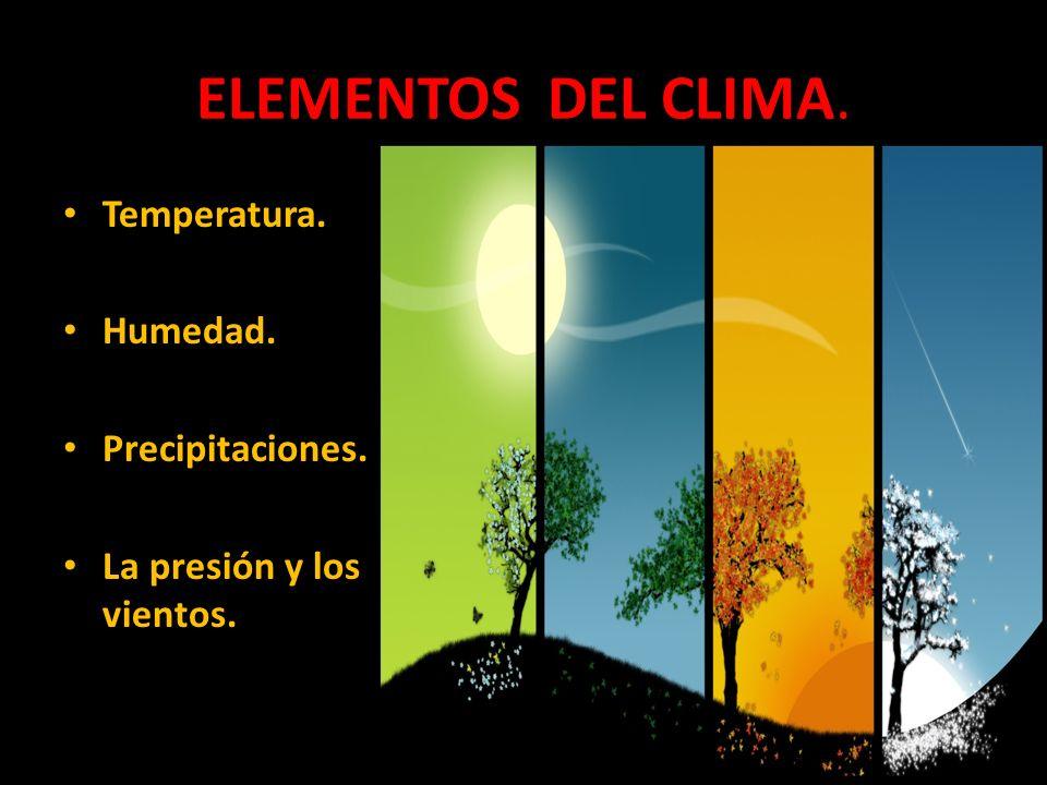 ELEMENTOS DEL CLIMA. Temperatura. Humedad. Precipitaciones.
