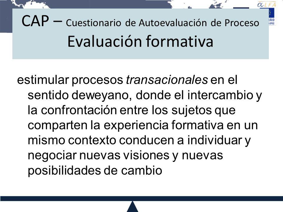 CAP – Cuestionario de Autoevaluación de Proceso Evaluación formativa