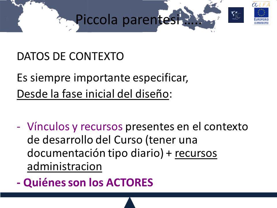 Piccola parentesi ….. DATOS DE CONTEXTO