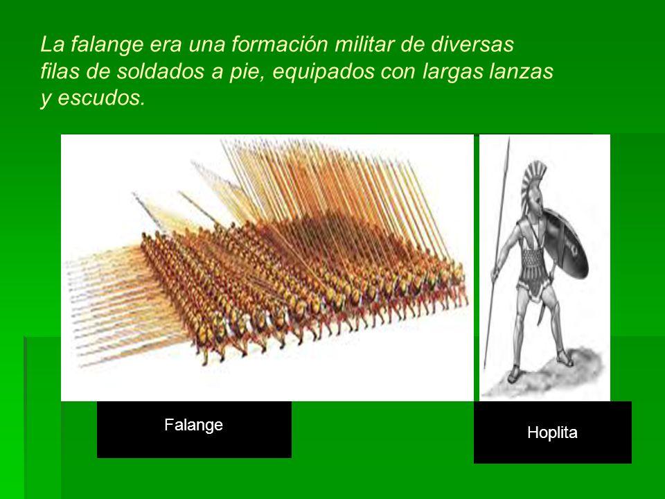 La falange era una formación militar de diversas filas de soldados a pie, equipados con largas lanzas y escudos.