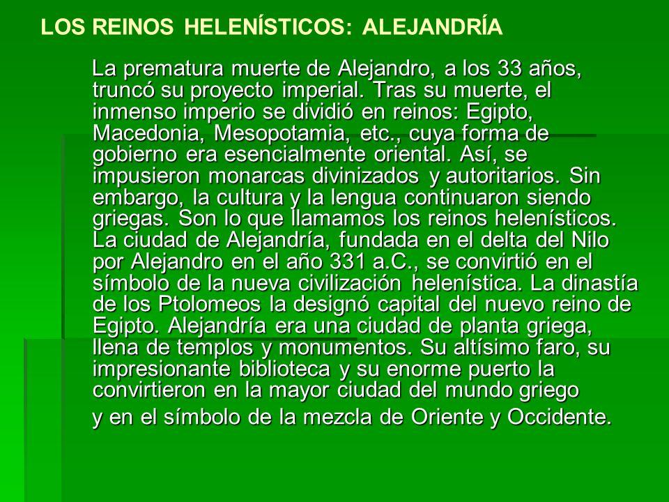 LOS REINOS HELENÍSTICOS: ALEJANDRÍA