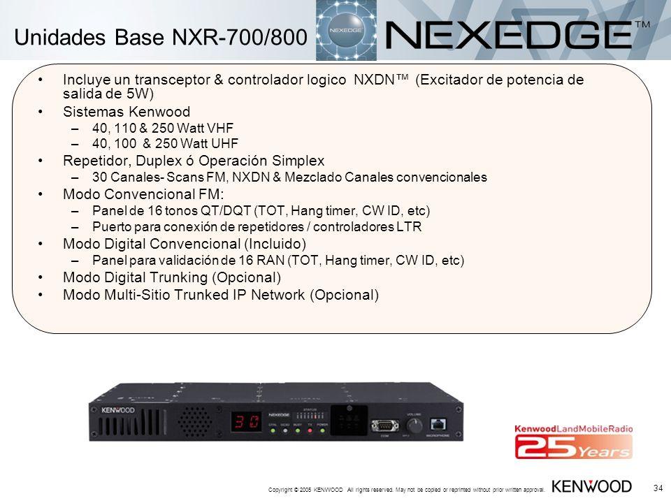 Unidades Base NXR-700/800 Incluye un transceptor & controlador logico NXDN™ (Excitador de potencia de salida de 5W)