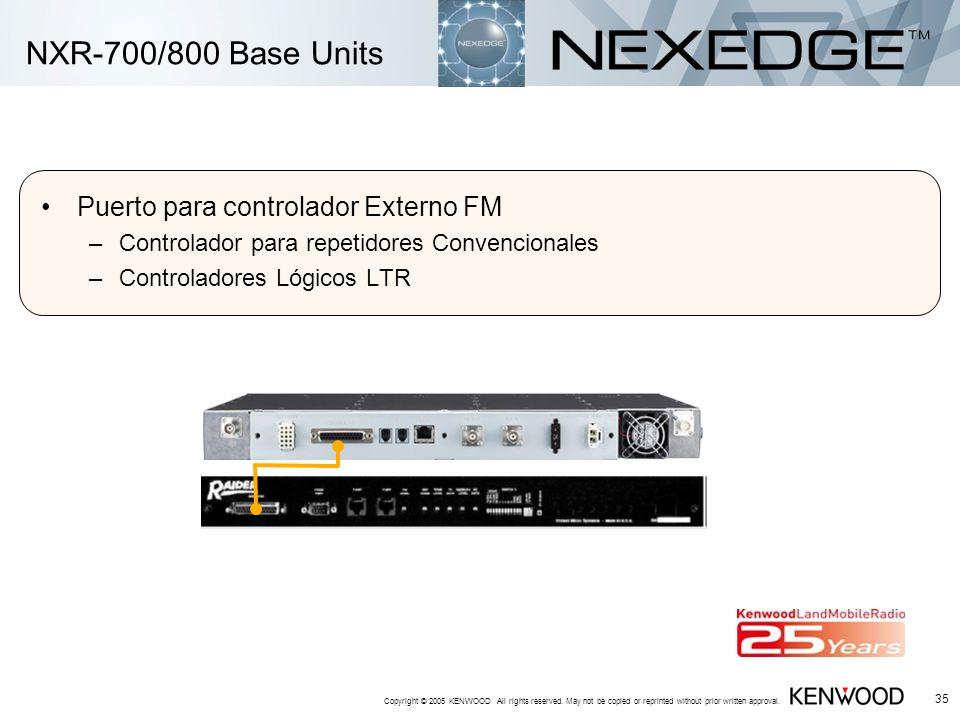 NXR-700/800 Base Units Puerto para controlador Externo FM