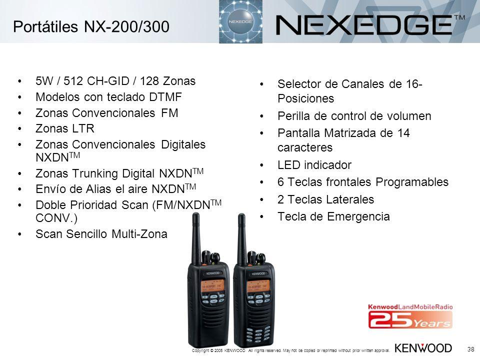 Portátiles NX-200/300 5W / 512 CH-GID / 128 Zonas