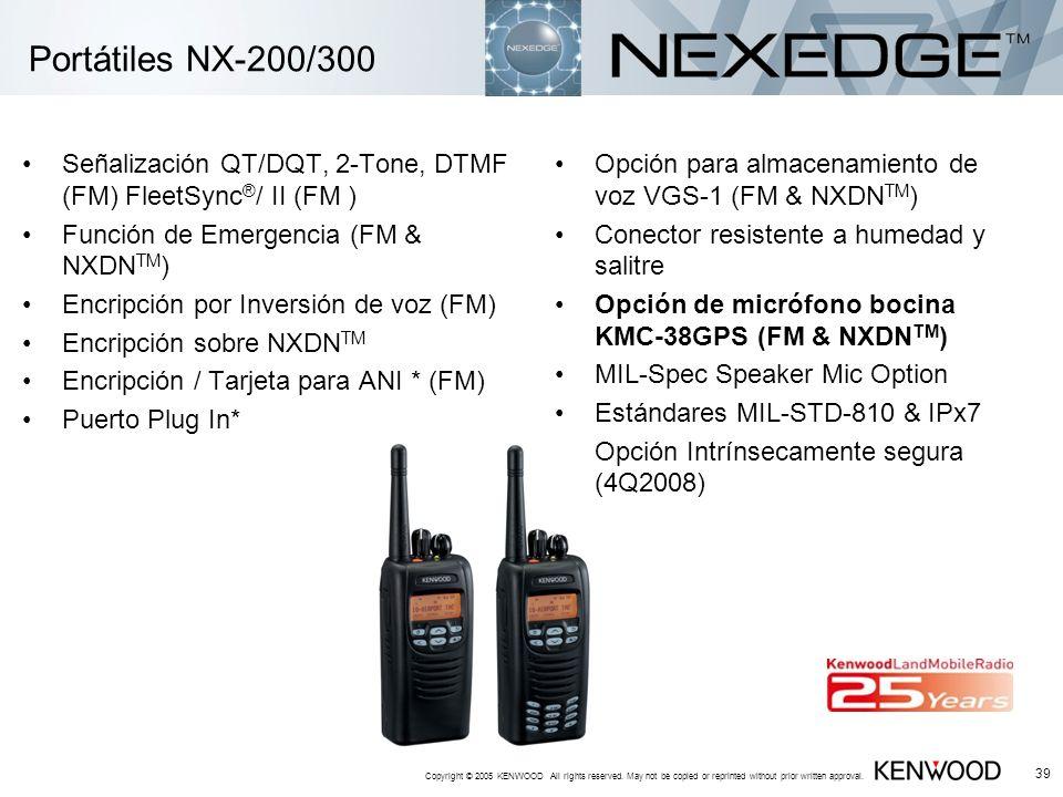 Portátiles NX-200/300 Señalización QT/DQT, 2-Tone, DTMF (FM) FleetSync®/ II (FM ) Función de Emergencia (FM & NXDNTM)
