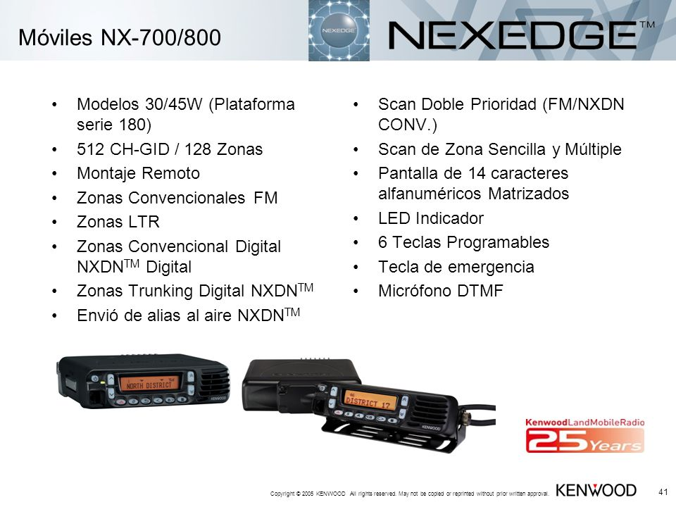 Móviles NX-700/800 Modelos 30/45W (Plataforma serie 180)