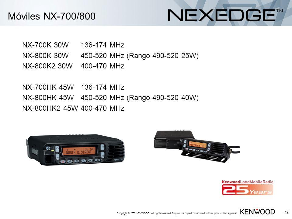Móviles NX-700/800 NX-700K 30W 136-174 MHz