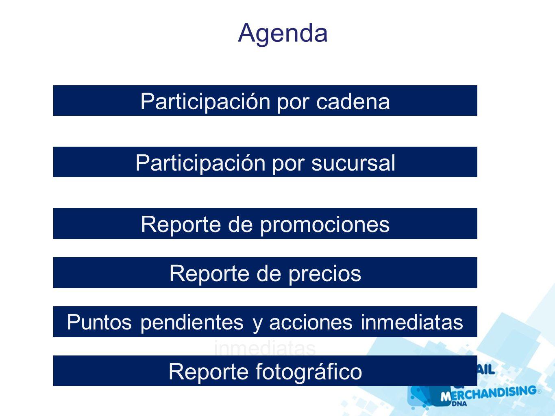 Agenda Participación por cadena Participación por sucursal