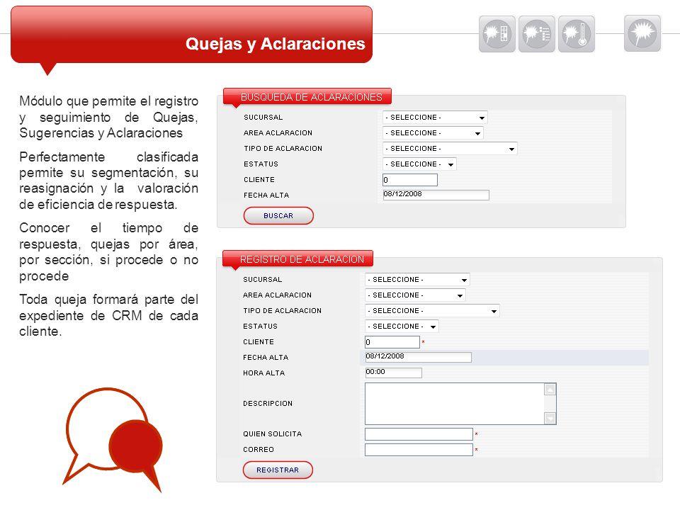 Quejas y Aclaraciones Módulo que permite el registro y seguimiento de Quejas, Sugerencias y Aclaraciones.