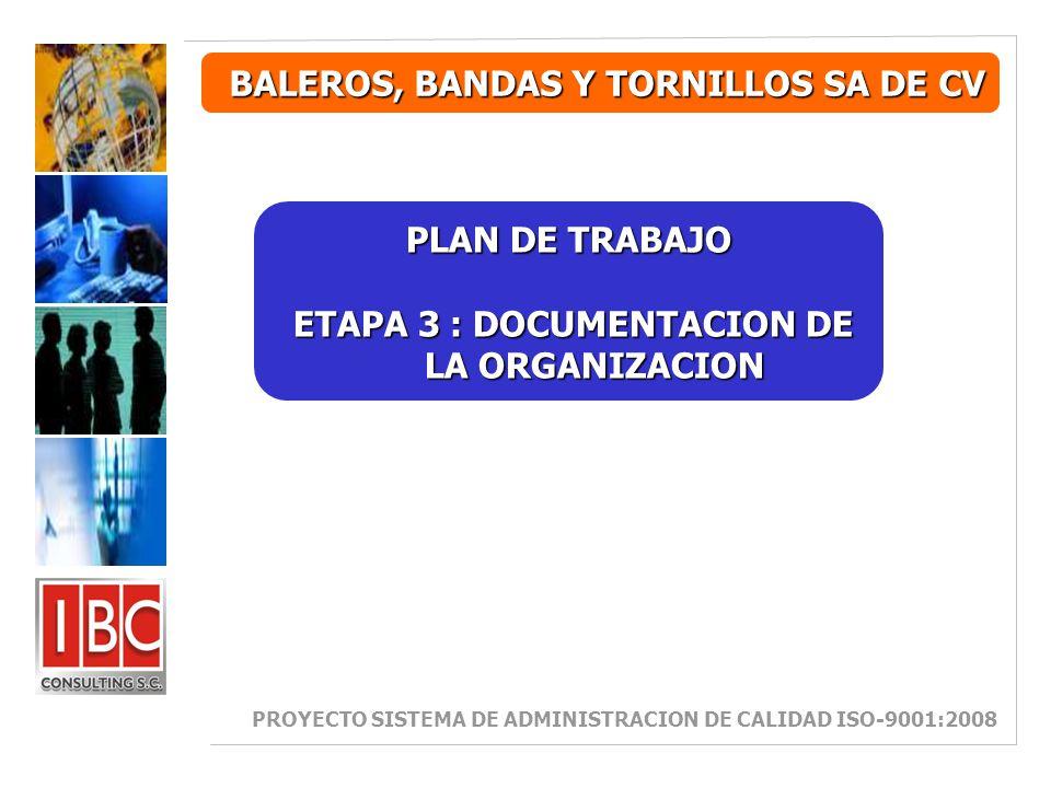 ETAPA 3 : DOCUMENTACION DE LA ORGANIZACION