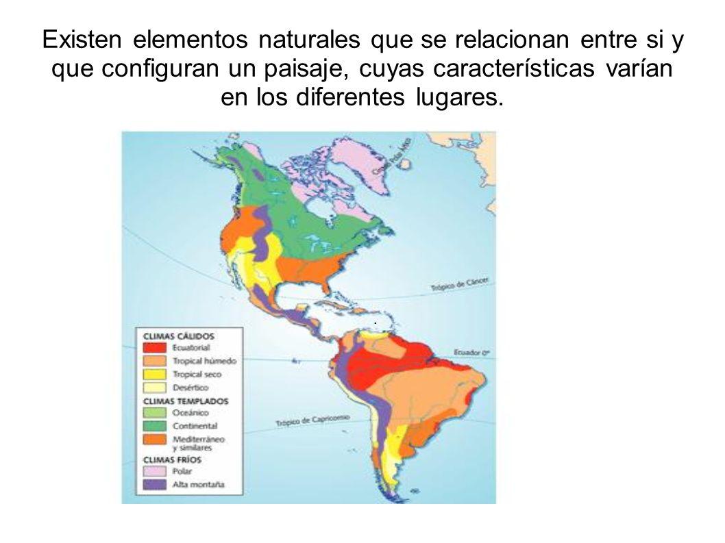 Existen elementos naturales que se relacionan entre si y que configuran un paisaje, cuyas características varían en los diferentes lugares.