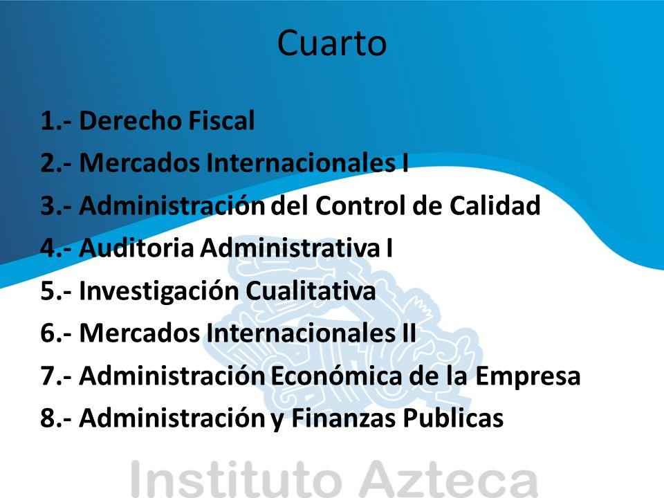 Cuarto 1.- Derecho Fiscal 2.- Mercados Internacionales I