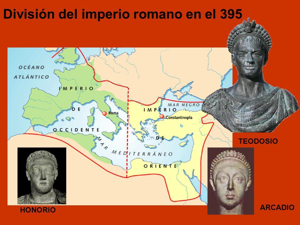 División del imperio romano en el 395