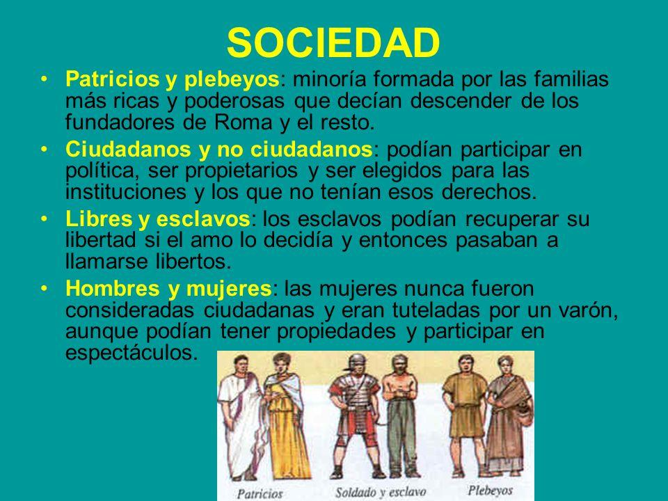 SOCIEDAD Patricios y plebeyos: minoría formada por las familias más ricas y poderosas que decían descender de los fundadores de Roma y el resto.