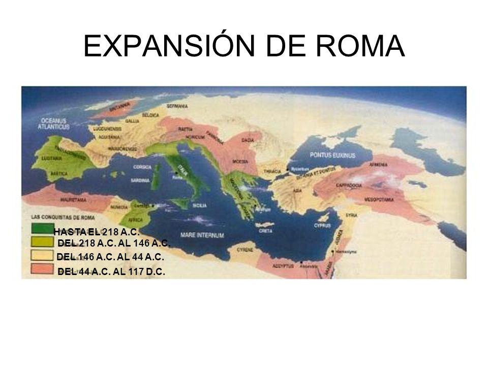 EXPANSIÓN DE ROMA HASTA EL 218 A.C. DEL 218 A.C. AL 146 A.C.