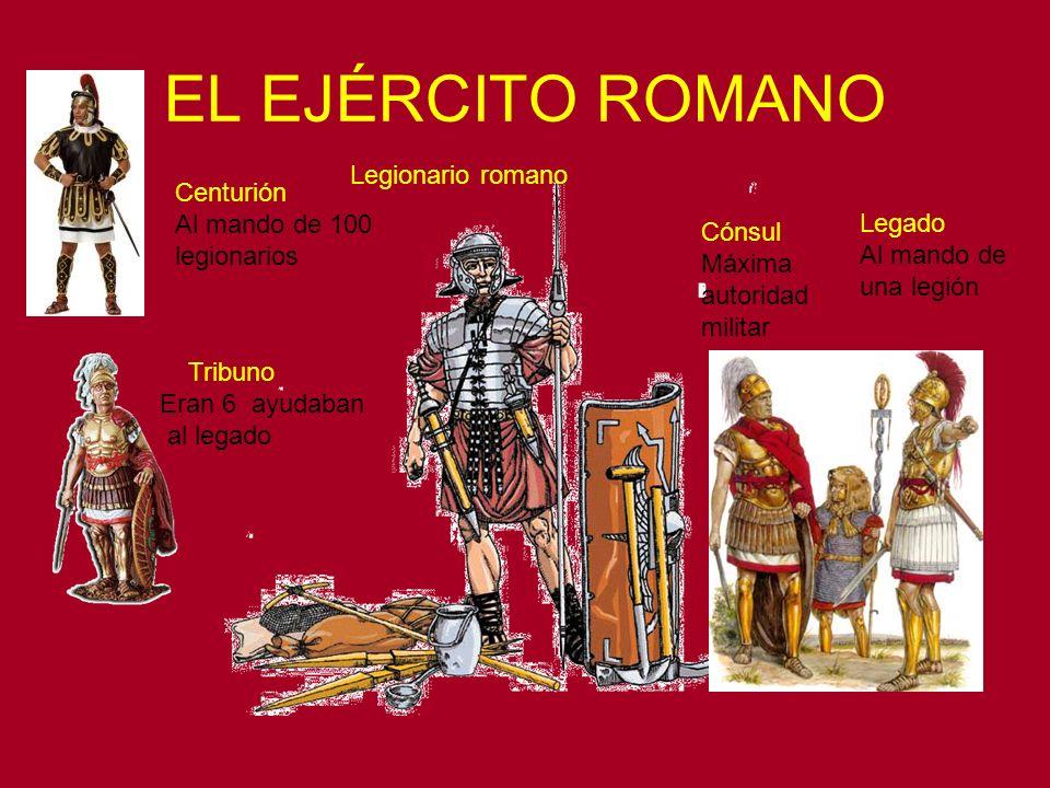 EL EJÉRCITO ROMANO Legionario romano Centurión Al mando de 100