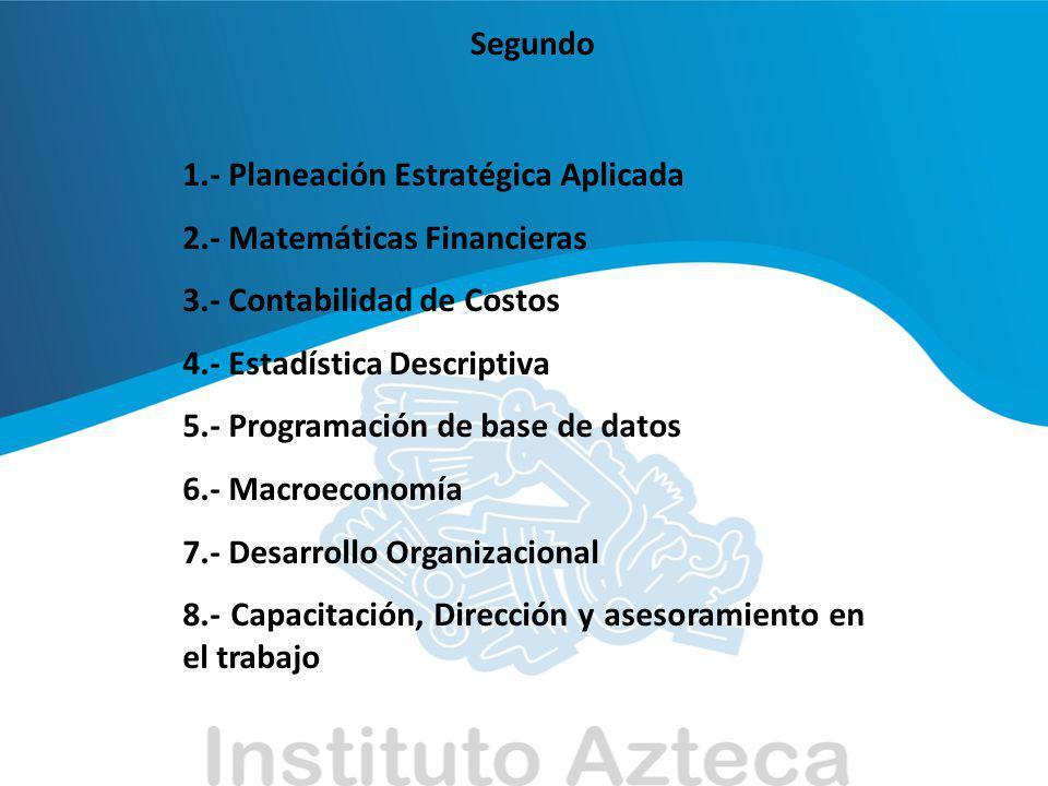 Segundo 1.- Planeación Estratégica Aplicada. 2.- Matemáticas Financieras. 3.- Contabilidad de Costos.