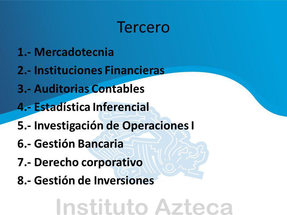 Tercero 1.- Mercadotecnia 2.- Instituciones Financieras