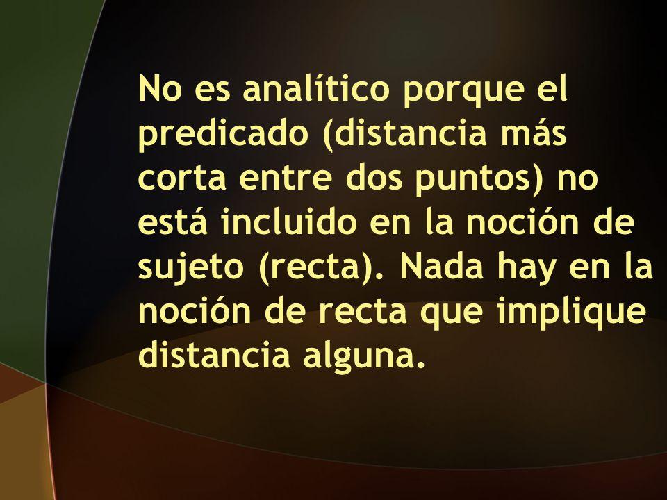 No es analítico porque el predicado (distancia más corta entre dos puntos) no está incluido en la noción de sujeto (recta).