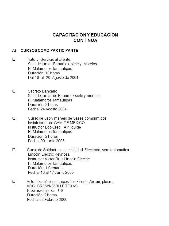 CAPACITACION Y EDUCACION