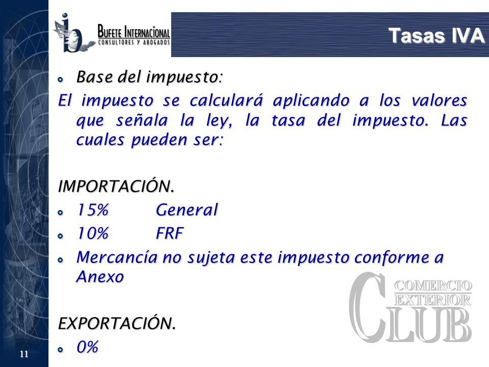 Tasas IVA Base del impuesto: