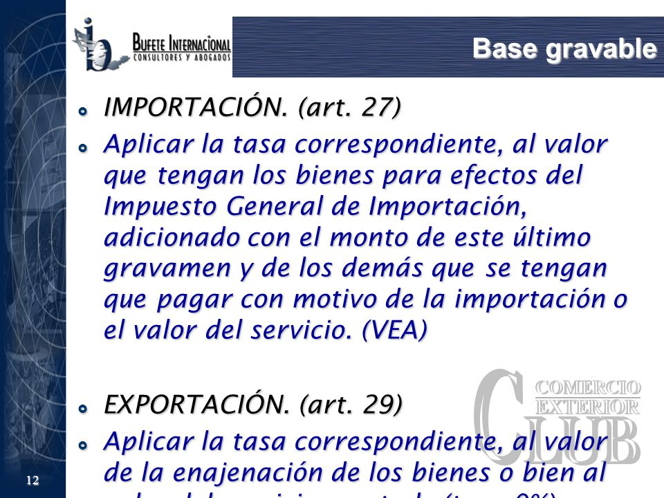 Base gravable IMPORTACIÓN. (art. 27)