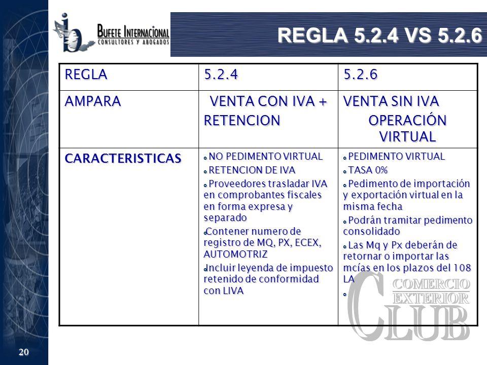 REGLA 5.2.4 VS 5.2.6 REGLA 5.2.4 5.2.6 AMPARA VENTA CON IVA +