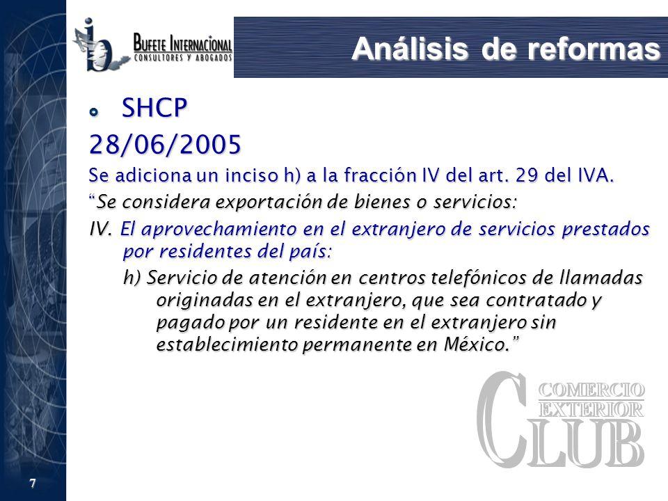 Análisis de reformas SHCP 28/06/2005