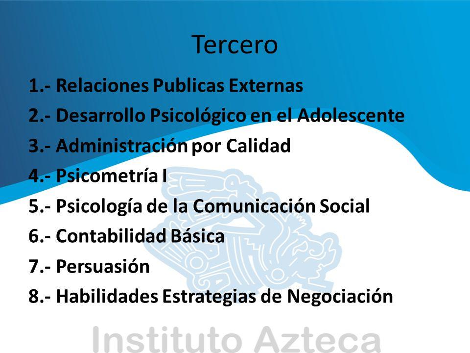 Tercero 1.- Relaciones Publicas Externas