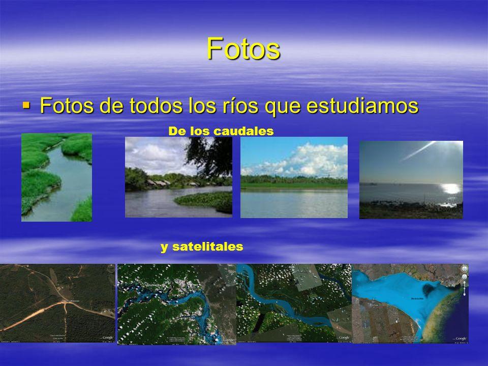 Fotos Fotos de todos los ríos que estudiamos De los caudales