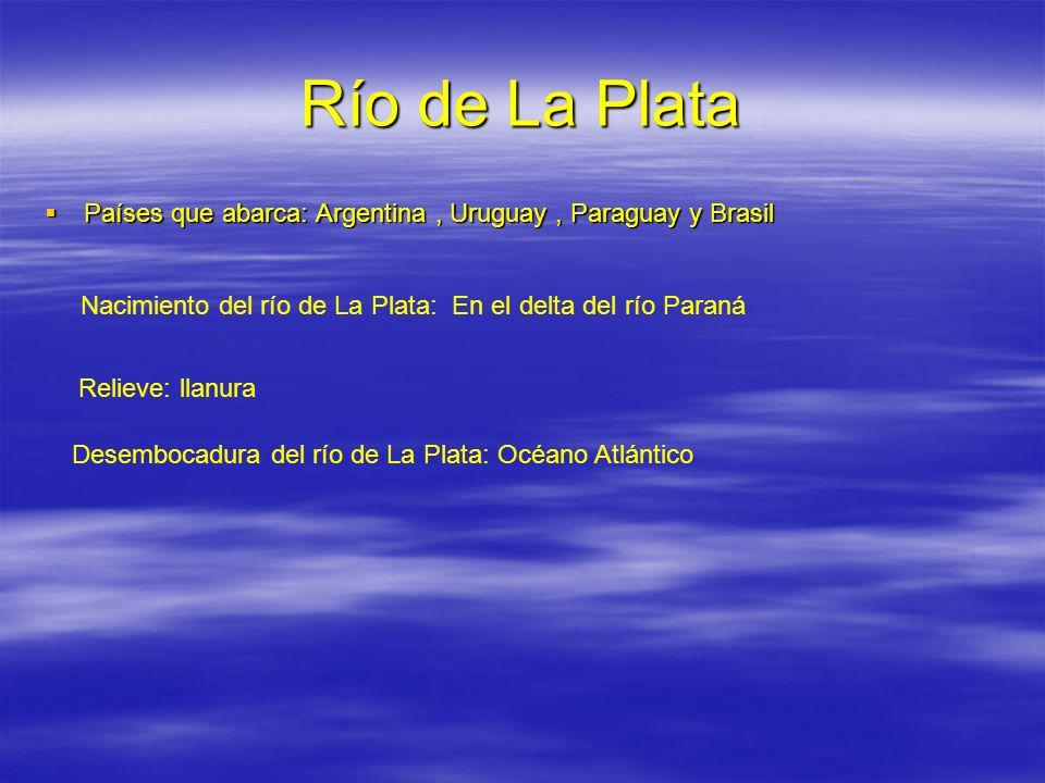 Río de La Plata Países que abarca: Argentina , Uruguay , Paraguay y Brasil. Nacimiento del río de La Plata: En el delta del río Paraná.