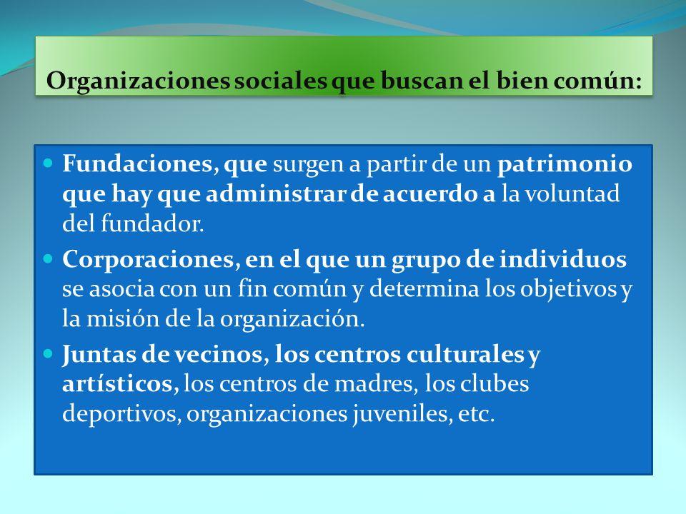 Organizaciones sociales que buscan el bien común: