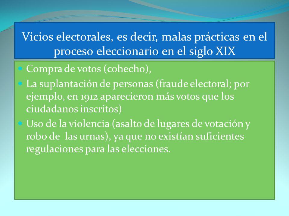 Vicios electorales, es decir, malas prácticas en el proceso eleccionario en el siglo XIX