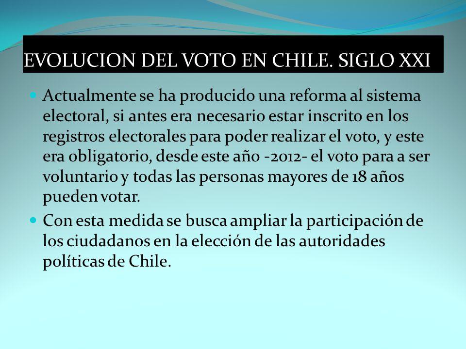 EVOLUCION DEL VOTO EN CHILE. SIGLO XXI