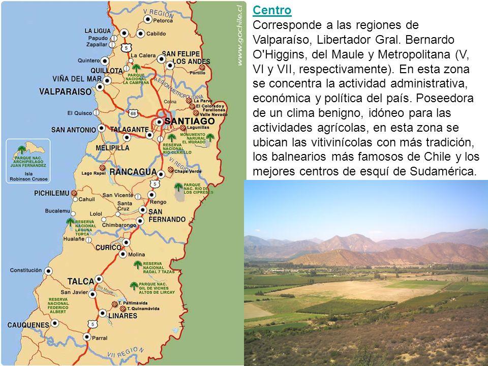 Centro Corresponde a las regiones de Valparaíso, Libertador Gral