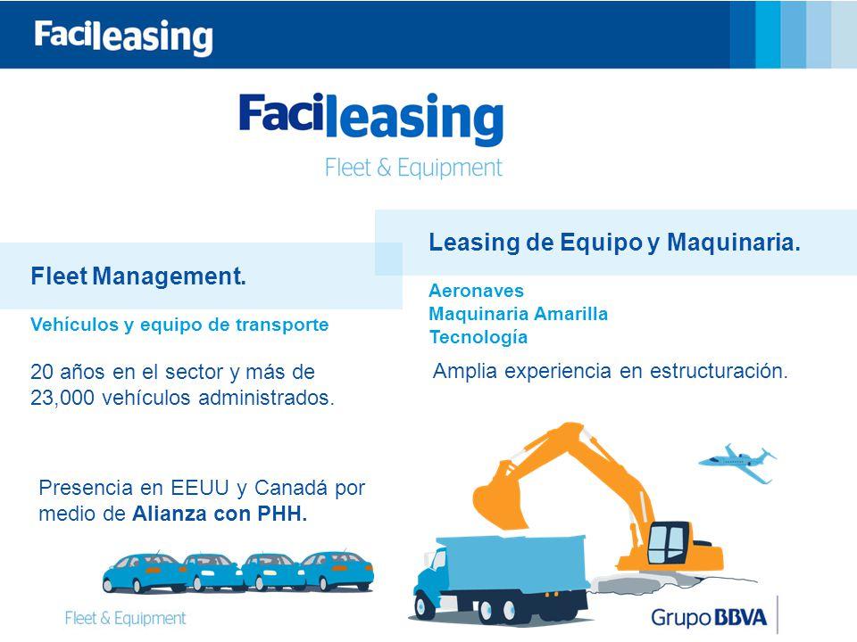 Leasing de Equipo y Maquinaria. Fleet Management.