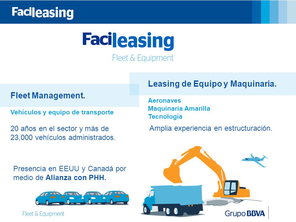 Leasing de Equipo y Maquinaria. Fleet Management.