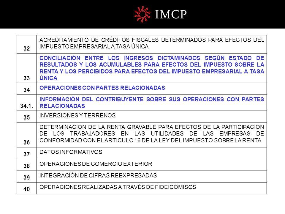 32 ACREDITAMIENTO DE CRÉDITOS FISCALES DETERMINADOS PARA EFECTOS DEL IMPUESTO EMPRESARIAL A TASA ÚNICA.