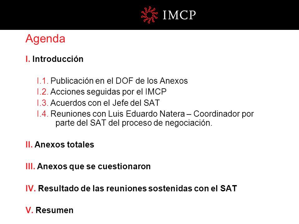 Agenda I. Introducción I.1. Publicación en el DOF de los Anexos