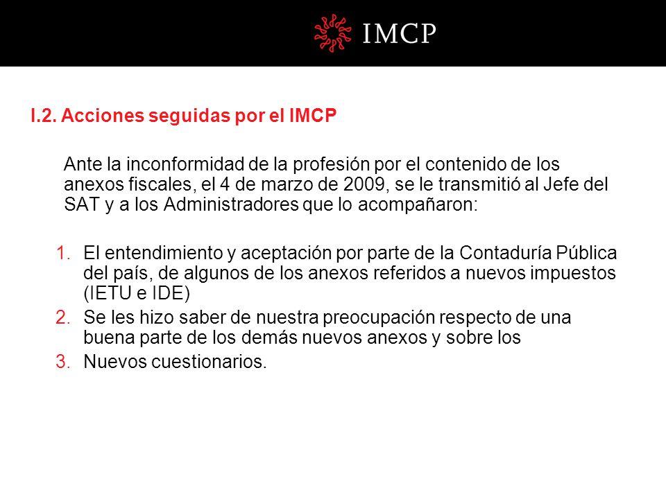 I.2. Acciones seguidas por el IMCP