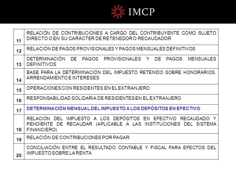 11 RELACIÓN DE CONTRIBUCIONES A CARGO DEL CONTRIBUYENTE COMO SUJETO DIRECTO O EN SU CARÁCTER DE RETENEDOR O RECAUDADOR.