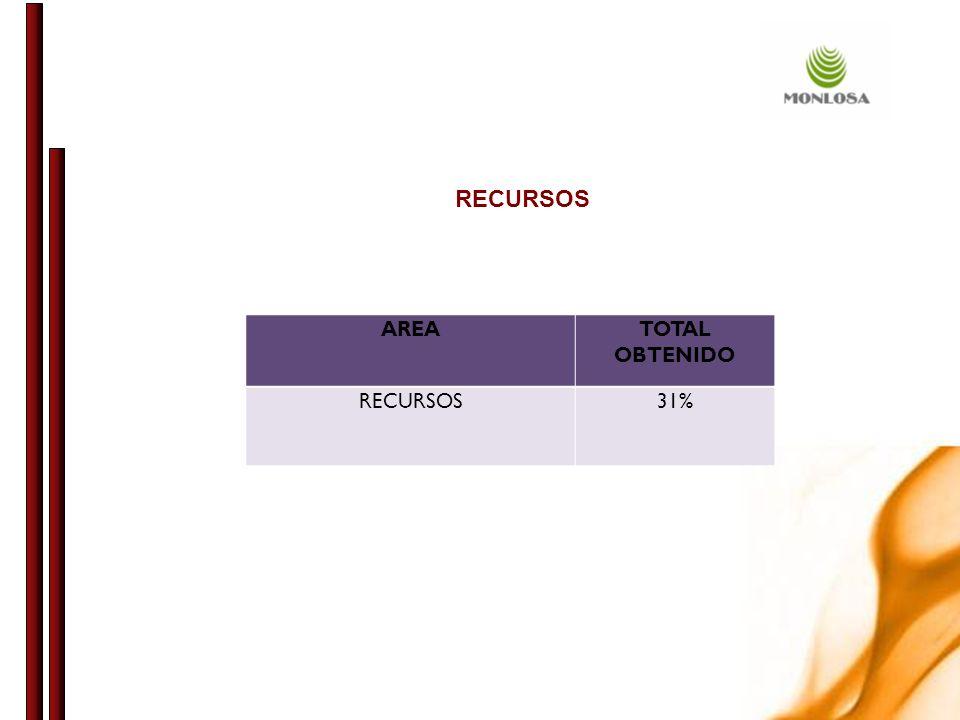 RECURSOS AREA TOTAL OBTENIDO RECURSOS 31%
